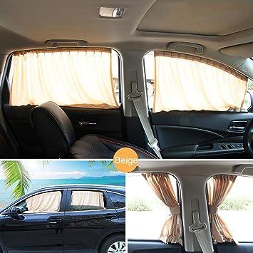 Car Window Curtain Black 2 x 50s Car Window Sun Shade Adjustable Windshield Sunshade Drape Visor Valance Curtain UV Protection for Baby and Family