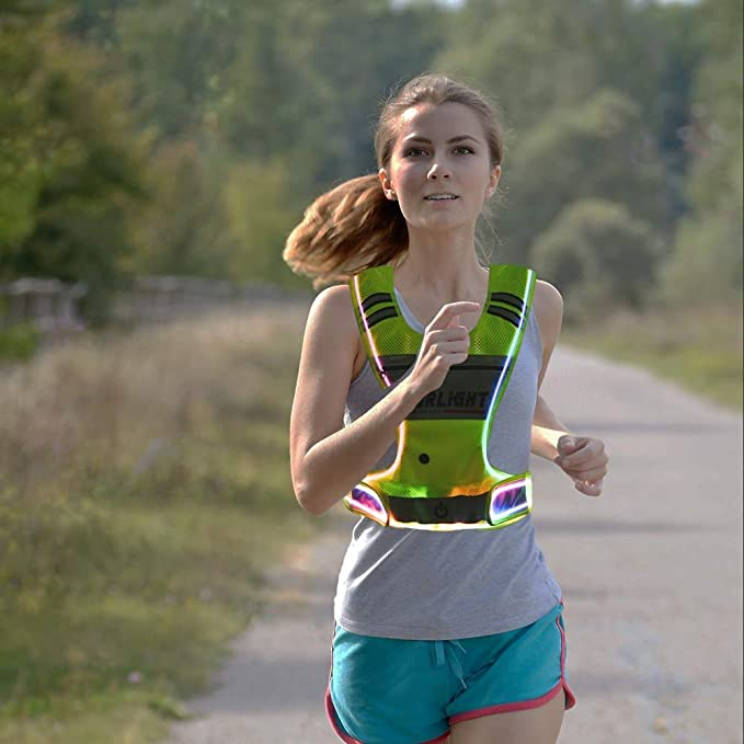 Reebok Running Vest Hi Viz High Visibility Night Safety Jacket Jogging Sports