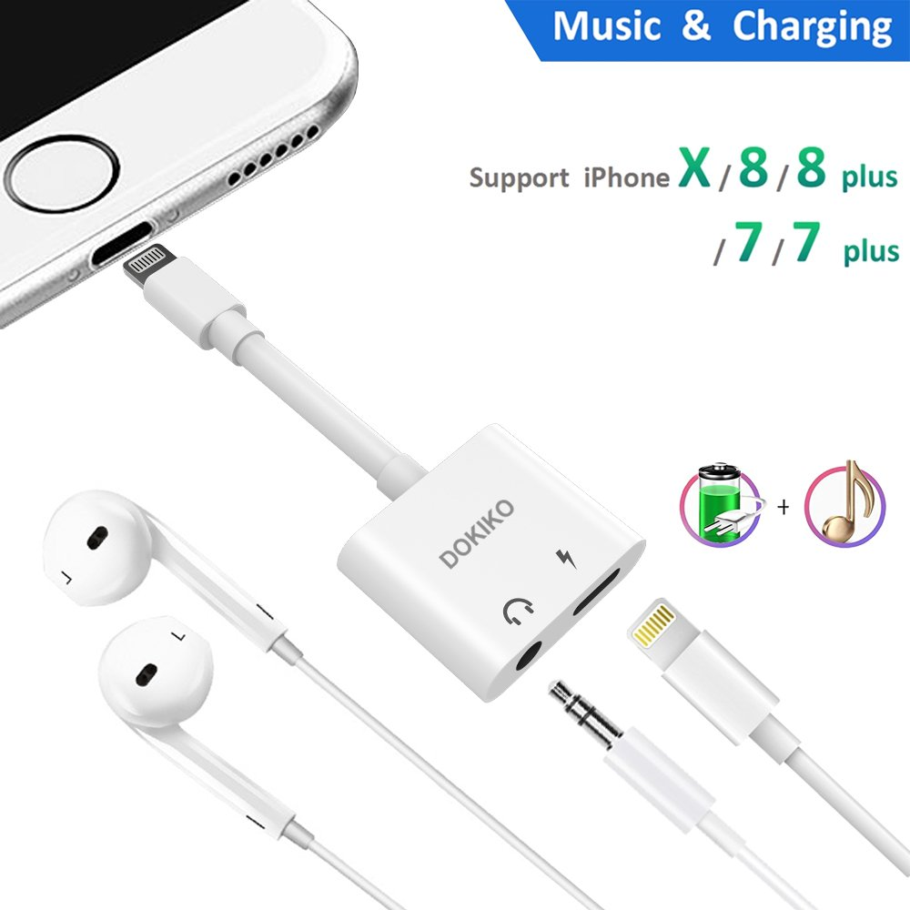 Dpkiko Compatible Adapter Splitter Replacement For Iph X 8 Plus Wiring 1 Headphone Jack 7 35 Mm Charger 2 In Audio Aux Music Control Charge