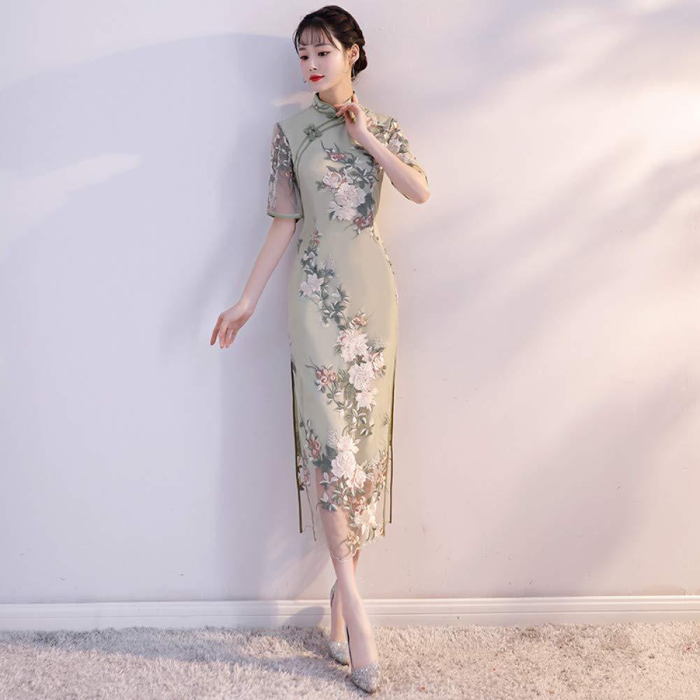 A4 XXL Qingxi Une Version améliorée de la Jeune Fille Cheongsam dans la Longue Section d'une Robe élégante et fraîche à col Bas