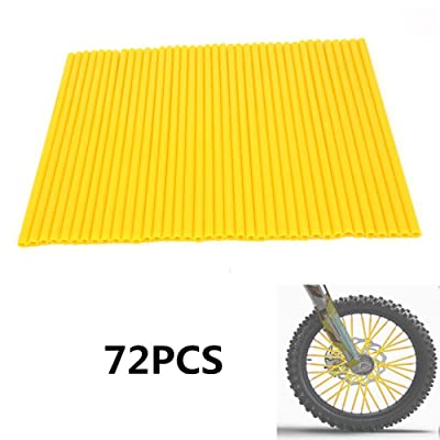 "72 Pcs Yellow Motorcycle Wheel Spoke Skins Rims Covers Wraps Coats Protector For 19""-21"" Rims SUZUKI RM85 RM125 RMZ250 RMZ450 RMX250 DR250 DRZ400 DR650 Pit Dirt Bike: Automotive"