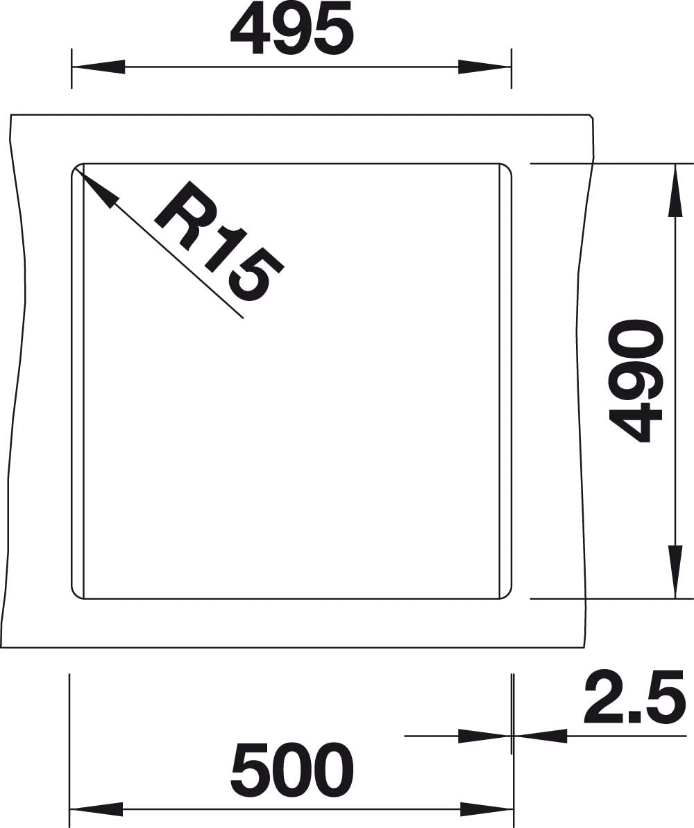 Fregadero BLANCO 518521 Negro, 1 senos, 445 x 350 mm, 19 cm, 515 mm, 510 mm