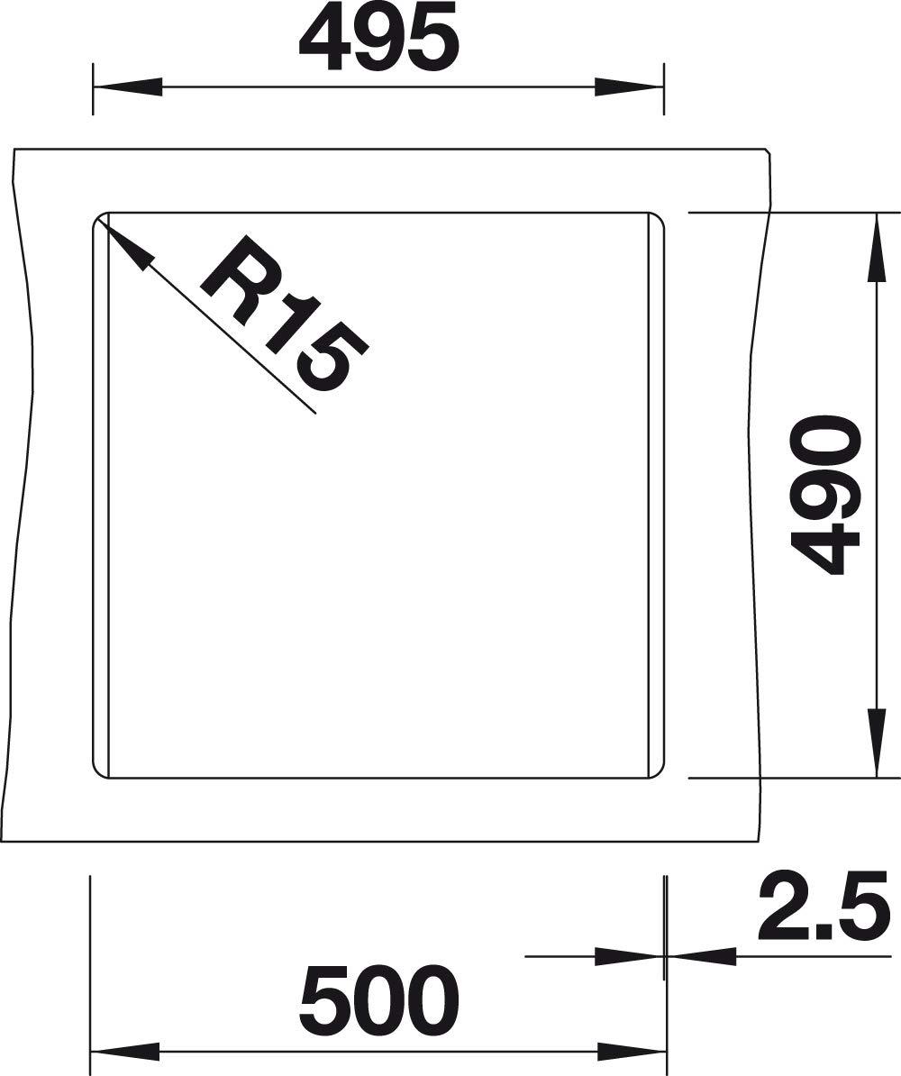 felsgrau 518852 Blanco Dalago 8 Silgranit PuraDur K/üchensp/üle 1 St/ück