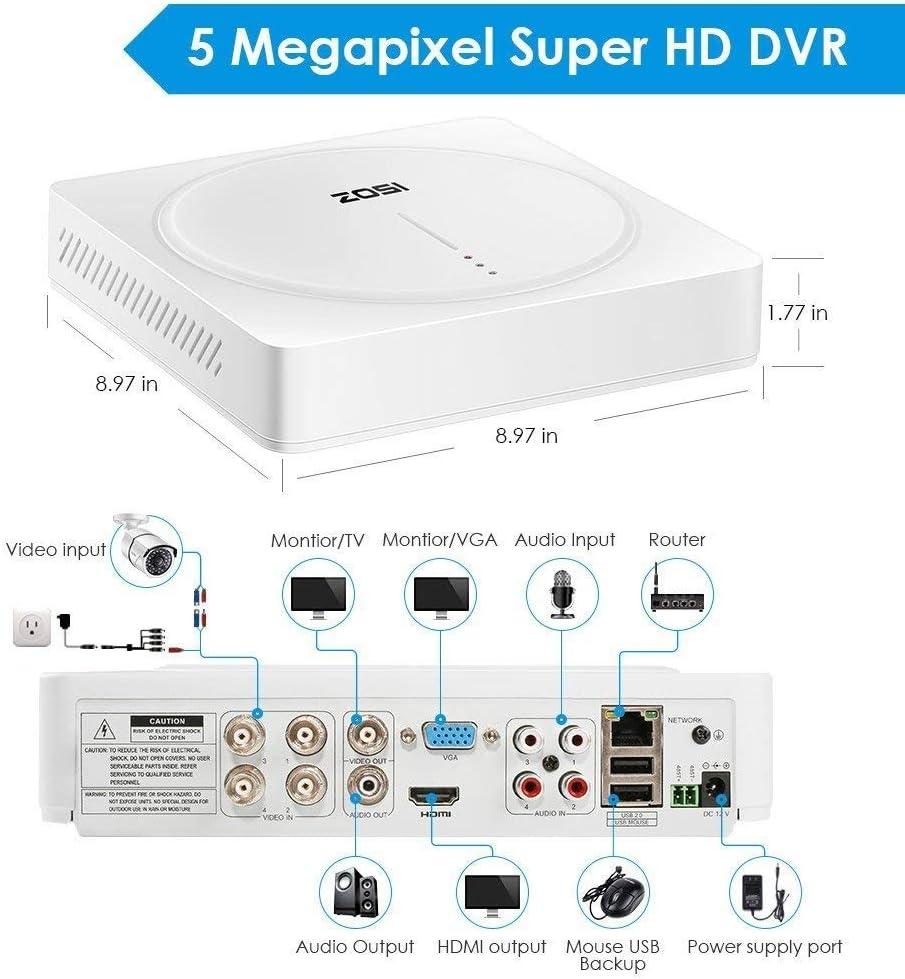 Super HD Kamera f/ür Haus Sicherheit ZOSI 4CH 5MP Au/ßen Dome /Überwachungskamera System mit 1TB Festplatte H.265 HDMI DVR Recorder Plus 5MP 2560 x 1920
