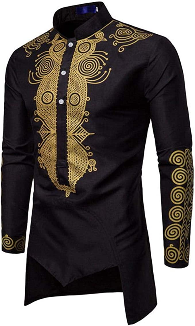 X-Future Mens Dashiki African Print Casual Button Up Stand Collar Shirts