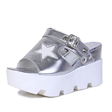 Schicke silber weiße Schuhe mit Plateau Sohle in 39 in