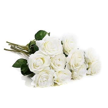Yosoo Kunst Blume Premium Kunstliche Romantische Reine Farbe Rose