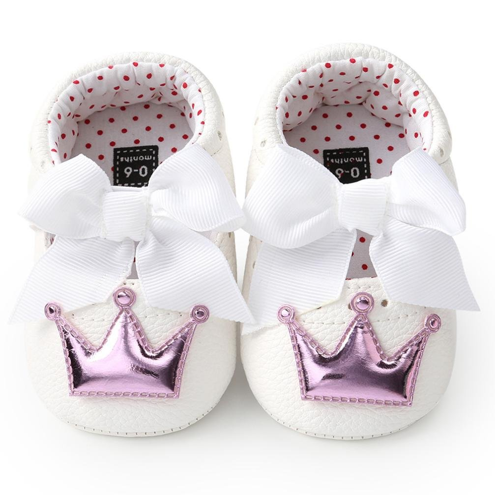 Voberry Baby Girl Crown Bowknot Princess Shoes Anti-Slip Soft Sole Bow Mary Jane 0-18 Months