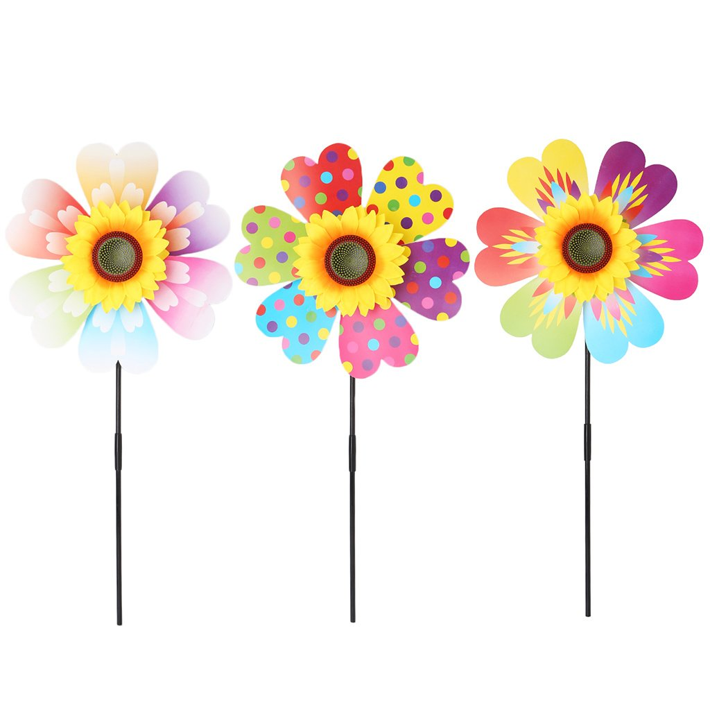 Fogun Kid Windmill Toys Sunflower Decoration Garden Ornaments Colorful Outdoor Wind Spinner