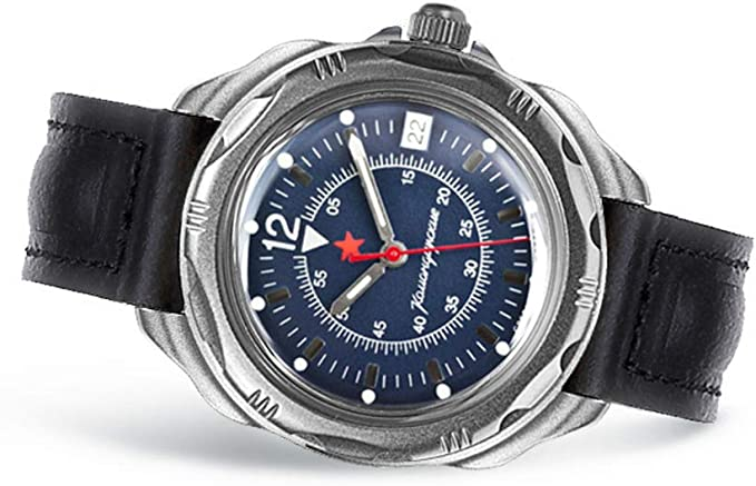 Amazon.com: VOSTOK | Komandirskie 216398 Commander Russian Military Mechanical Wrist Watch | WR 20 m | Fashion | Business | Casual Men's Watches | Leather Band B: Watches