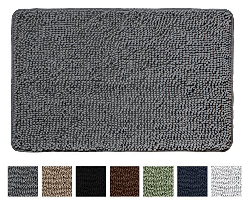 """The Original GORILLA GRIP Shaggy Chenille Bathroom Rug Mat, Durable Backing, Extra Soft, Plush, and Absorbent Microfibers, Machine-Washable, Perfect for Bath, Tub, and Shower (Gray, 30"""" x 20"""") Image"""