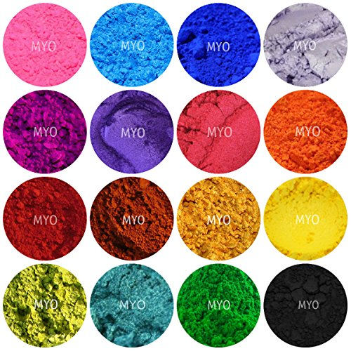 10 Piece Assorted Sampler Mineral Matte Oxide & Shimmer Mica Powder DIY For Soap Making, Cosmetic, Candle Making, Nail Art, Resin Jewelry, Acrylic and other Craft Projects. Gram Jars Set A