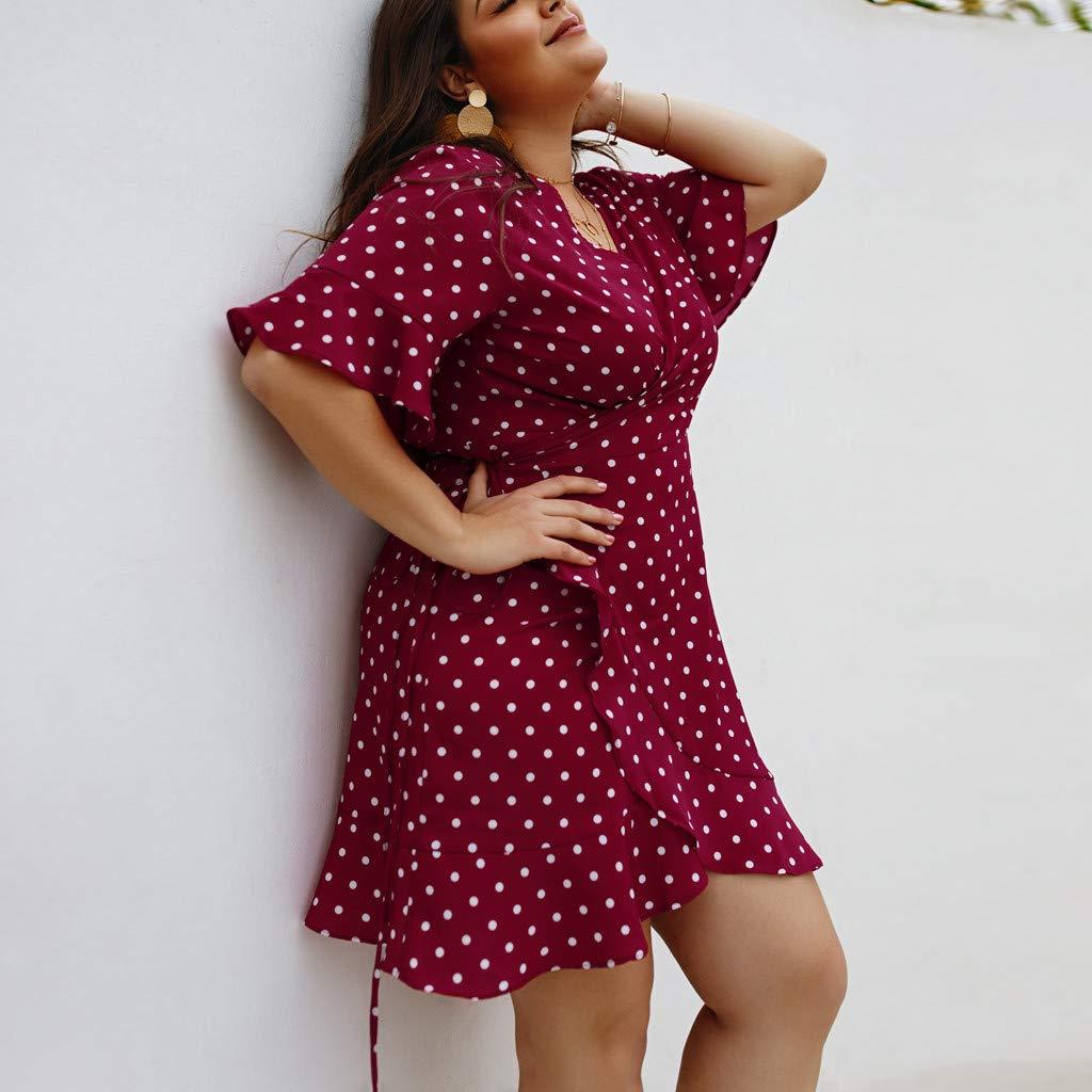 JESPER Womens Short Sleeve V-Neck Polka Dot Wrap Mini Dress Summer Beach Party Holiday Dress