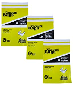 Style H Disposable Vacuum Cleaner Bags Compatible with Eureka Canister Cleaner Bags (3 Packs - Total of 6 Bags)