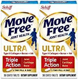Move Free Ultra Triple Action Joint Supplement with Type II Collagen, Hyaluronic Acid, and Boron for Joint, Cartilage, and Bone Support, 30 Tablets (Pack of 2)