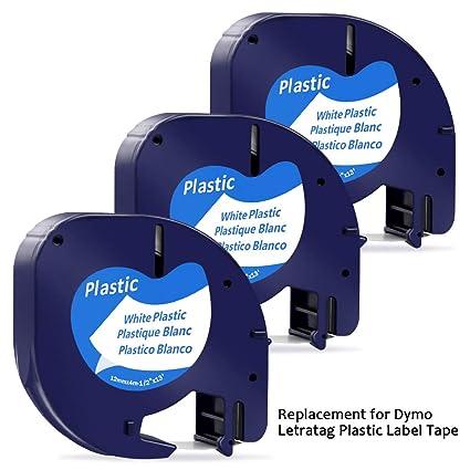 5 x Dymo LetraTag 91201 91221 S0721610 Cartucce Nastro Etichette Adesivo in Plastica Nero su Bianco 12mm x 4m Compatibile con Dymo LT-100H LT-100T LT-110T QX 50 XR XM 2000 Plus