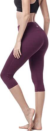 LAPASA Women's Yoga Capri Pants Running Yoga Pants Wide Waistband Sports Pants Hidden Pocket L02
