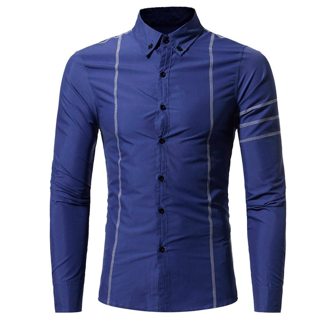 Aurorax Dress Shirt for Mens, Button Down Casual Long Sleeve Shirt,Cotton Top Regular Slim Fit Dress Shirt Classic for Party, Beach,Work,Business (Blue, XXL)