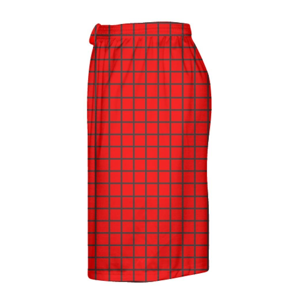 Red Lax Shorts Youth Lacrosse Shorts LightningWear Grid Red Charcoal Gray Lacrosse Shorts