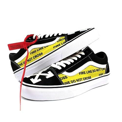 a009739fa8b76 Amazon.com: Vans Old Skool x OFF White Custom Handmade Uni-Sex Shoes ...