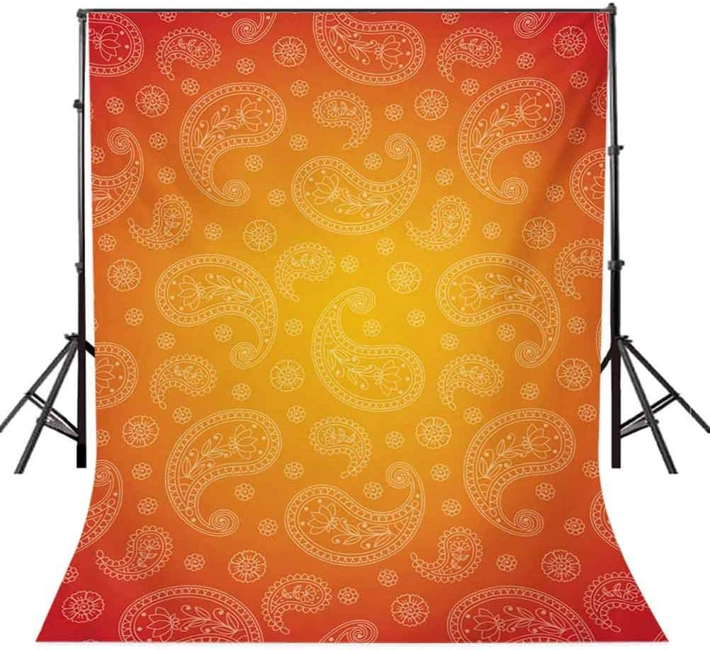 Ombre Colored and Themed Image with Blank Frame and Floral Patterns Background for Party Home Decor Outdoorsy Theme Vinyl Shoot Props Orange and White Orange 10x12 FT Photography Backdrop