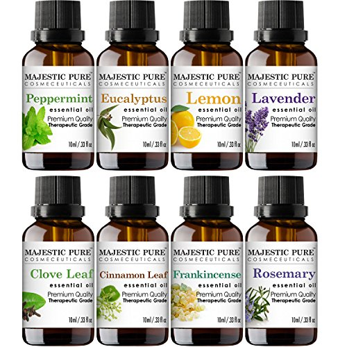 MajesticPure Aromatherapy Essential Oils Set, Includes Lavender, Frankincense, Peppermint, Eucalyptus, Lemon, Clove Leaf, Cinnamon Leaf & Rosemary Oils- Pack of 8-10 ml each by Majestic Pure (Image #3)