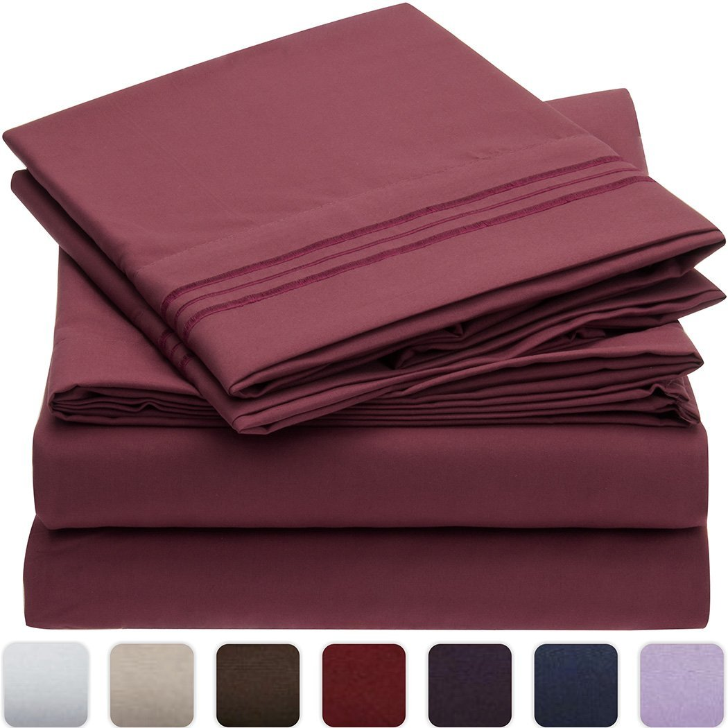 Mellanni Bed Sheet Set - HIGHEST QUALITY Brushed Microfiber 1800 Bedding - Wrinkle, Fade, Stain Resistant - Hypoallergenic - 4 Piec