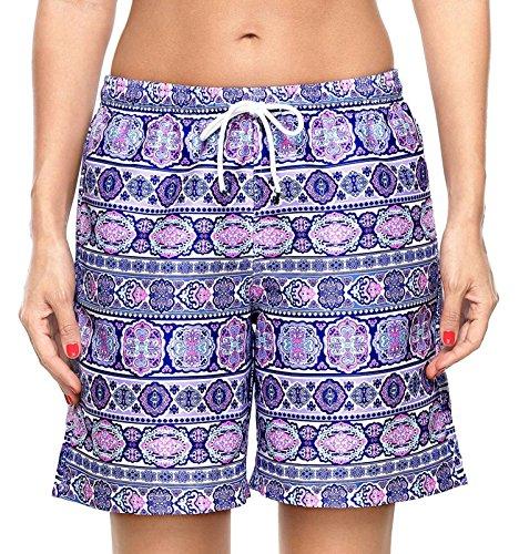 ATTRACO Womens Swim Shorts UV Sun Protective Boardshort Quick Dry Swim Trunks Blue XL