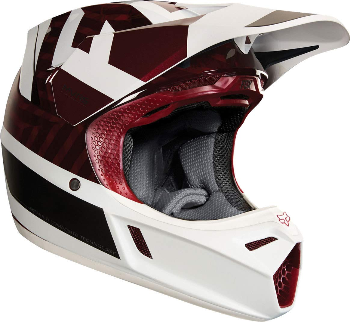 Amazon.es: 19522-208-M - Fox Racing V3 Preest Motocross Helmet M Dark Red
