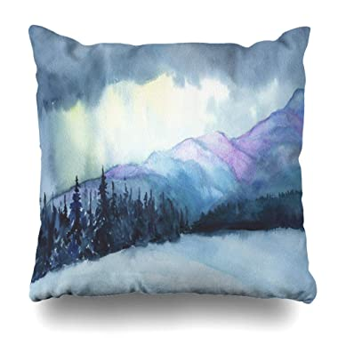 ArtsDecor Throw Pillow Covers Cases Alpine Blue Abstract Winter Mountains Mist Dark Nature Watercolor Aquarelle Cloud Dusk Panoramic Home Decor Cushion Square Size 16  x 16  Zippered Pillowcases