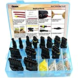 14 Set Car Waterproof Electrical Connector Plug Terminals Heat Shrink 1/2/3/4/5/6 Pin Way with 24Pcs Fuses, Blue Clear Box