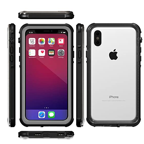 buy online d7f68 f94e0 Waterproof Case for iPhone X,Waterproof Case UVOON Enhanced Sound  Ultra-Slim Transparent back Full Sealed with Built-in Screen Protector,  Shockproof ...