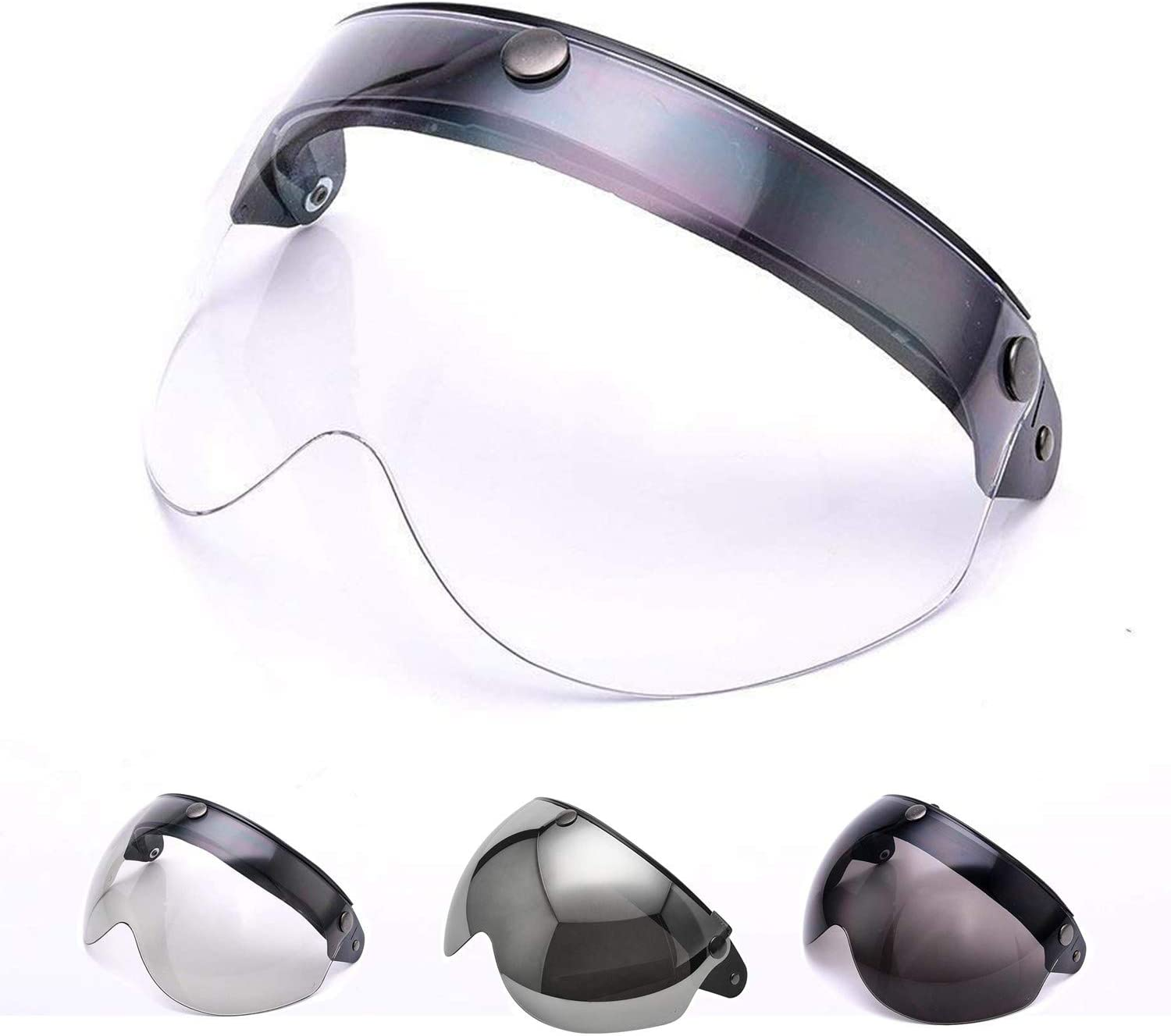 MotorFansClub Pilot-Style Universal 3 Snap-Button Visor Fit For Compatible With Open Face Motorcycle Helmet Wind Shield Flip Up Down Clear