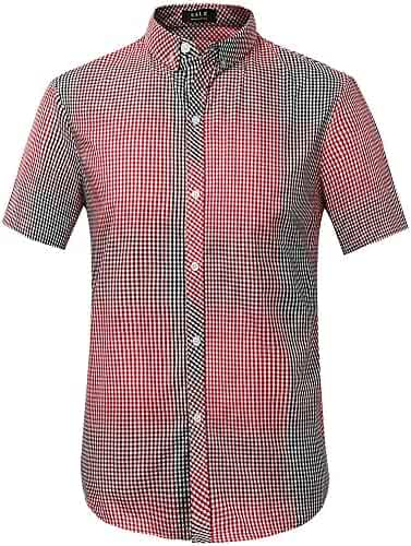 f84495cd SSLR Men's Straight Fit Ombre Button Down Gingham Short Sleeve Casual Shirt