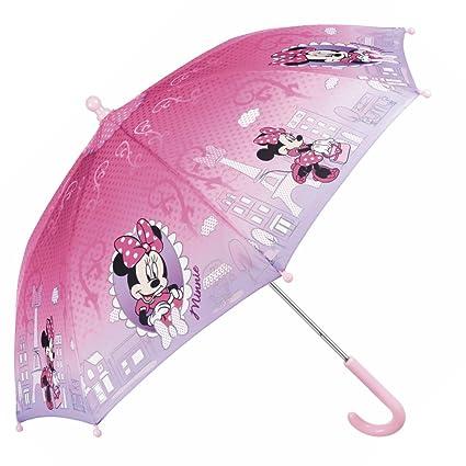 gran selección de venta usa online comprar original Paraguas Disney Minnie Mouse Niña - Paraguas Resistente Antiviento y Largo  - Apertura de Seguridad - 3/5 Años - Rosa - 76 cm de diámetro - Perletti
