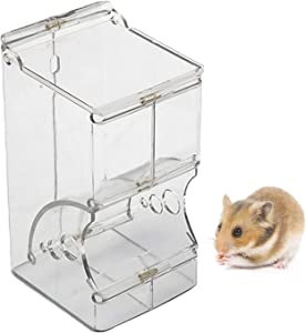 Hamster Feeder, Food Dispenser Transparent Acrylic, Automatic Gravity Feeder, Suitable for Feeding Hamsters, Guinea Pigs, Pigeons, Parrots, Birds, Mini Hedgehogs, and Other Small Animals (300ml)