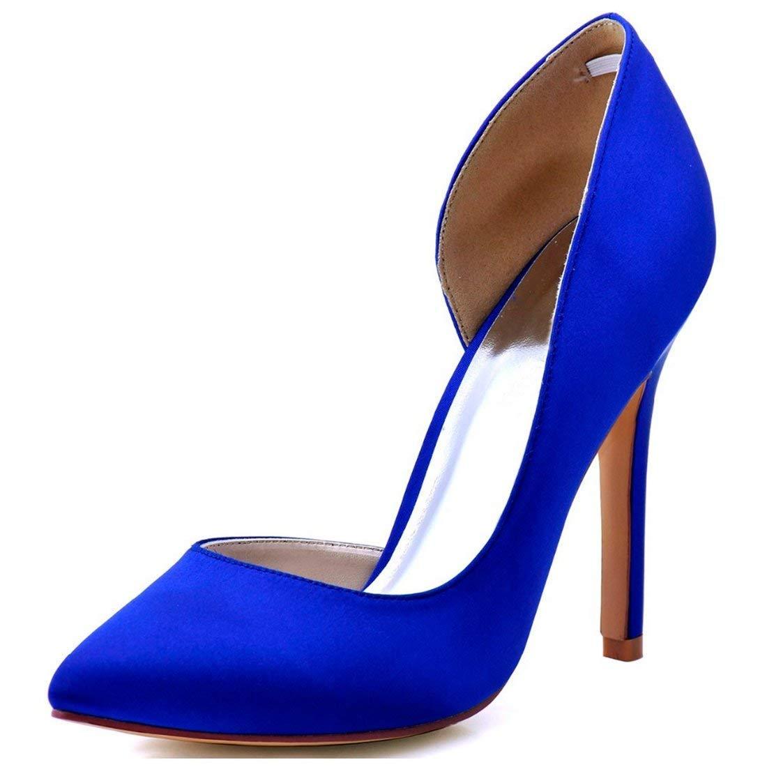 ZHRUI Damen Mandel Toe D'Orsay Blau Satin Braut Hochzeit Formale Formale Formale Partei Schuhe UK 5 (Farbe   -, Größe   -) 8cab29