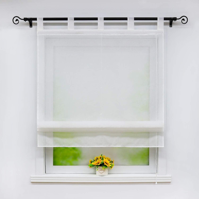 Joyswahl White Roman Blind in Linen Look Linen Texture Semi-Transparent Roman Blind with Loops Plain Window Curtain W x H 60 x 140 cm Pack of 1 #1 BxH 60x140cm