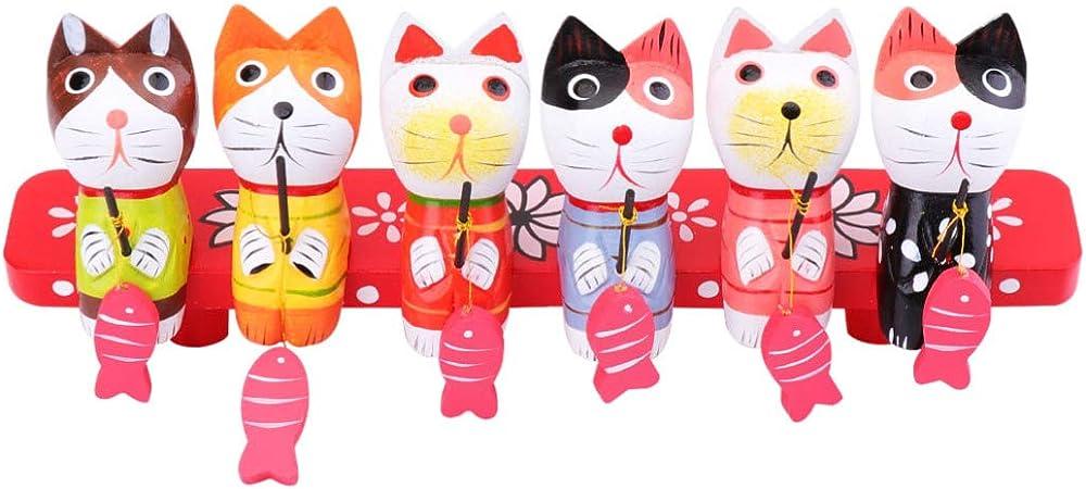 VOSAREA, 1 Juego de Figuras Decorativas de Madera, diseño de Gato, Figuras de Animales, centros de Mesa, pequeños Gatitos, coleccionables para la Oficina en casa: Amazon.es: Hogar