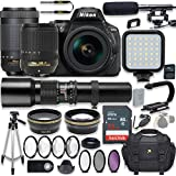 Nikon D5600 24.2 MP DSLR Camera Video Kit with AF-S 18-140mm VR Lens, AF-P 70-300mm ED VR Lens & 500mm Lens + LED Light + 32GB Memory + Filters + Macros + Deluxe Bag + Professional Accessories