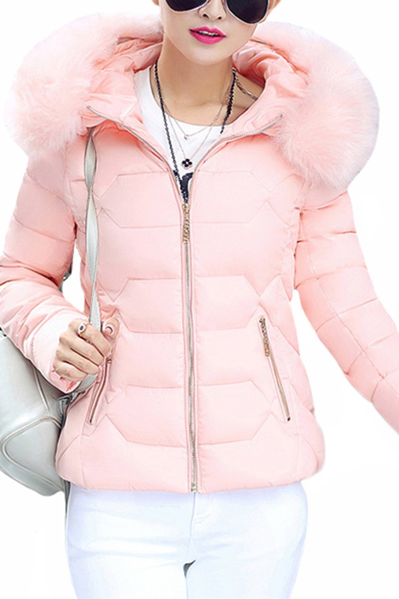 YMING Women's Winter Windproof Jacket Fashion Quilter Warm Jackets Pink S