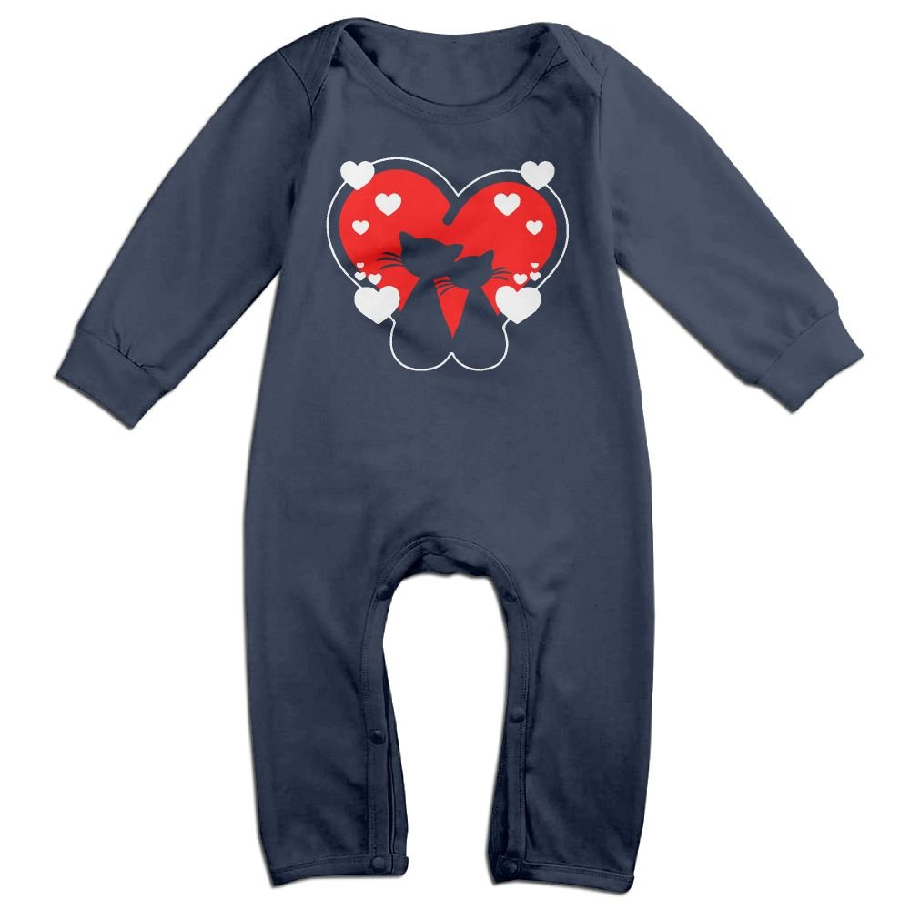 Mri-le1 Baby Boy Girl Organic Coverall Cat Love 2 Kid Pajamas