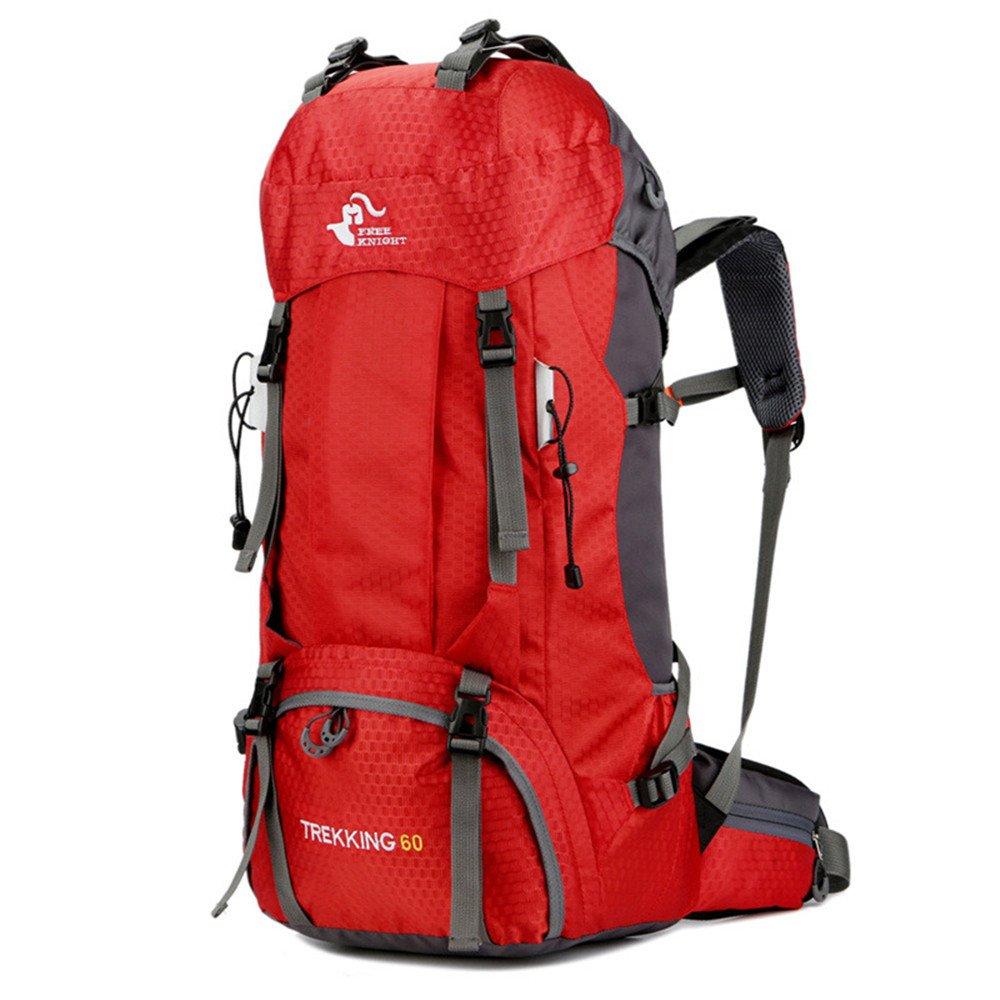 Rouge  Grande Capacité épaule Sac à Dos 60L Marche Adulte Sac à Dos Sac à Dos De Randonnée Camping Sac d'alpinisme Camping Randonnée Sac à Dos étanche Envoyer Une Couverture De Pluie