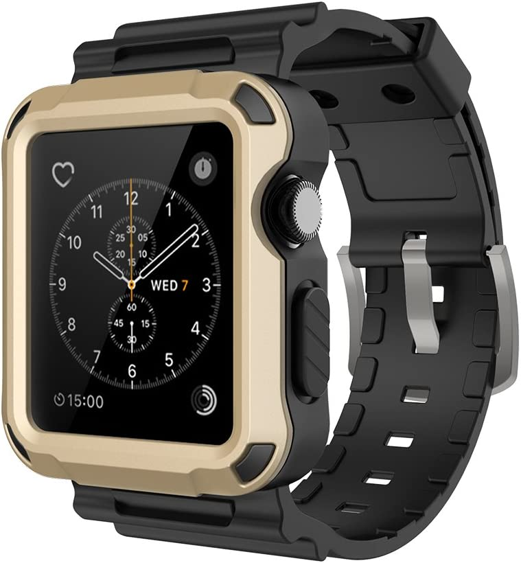 Simpeak Rugged Protective Case with Black Strap Bands Compatible with Apple Watch Series 3 Series 2 42mm, Gold