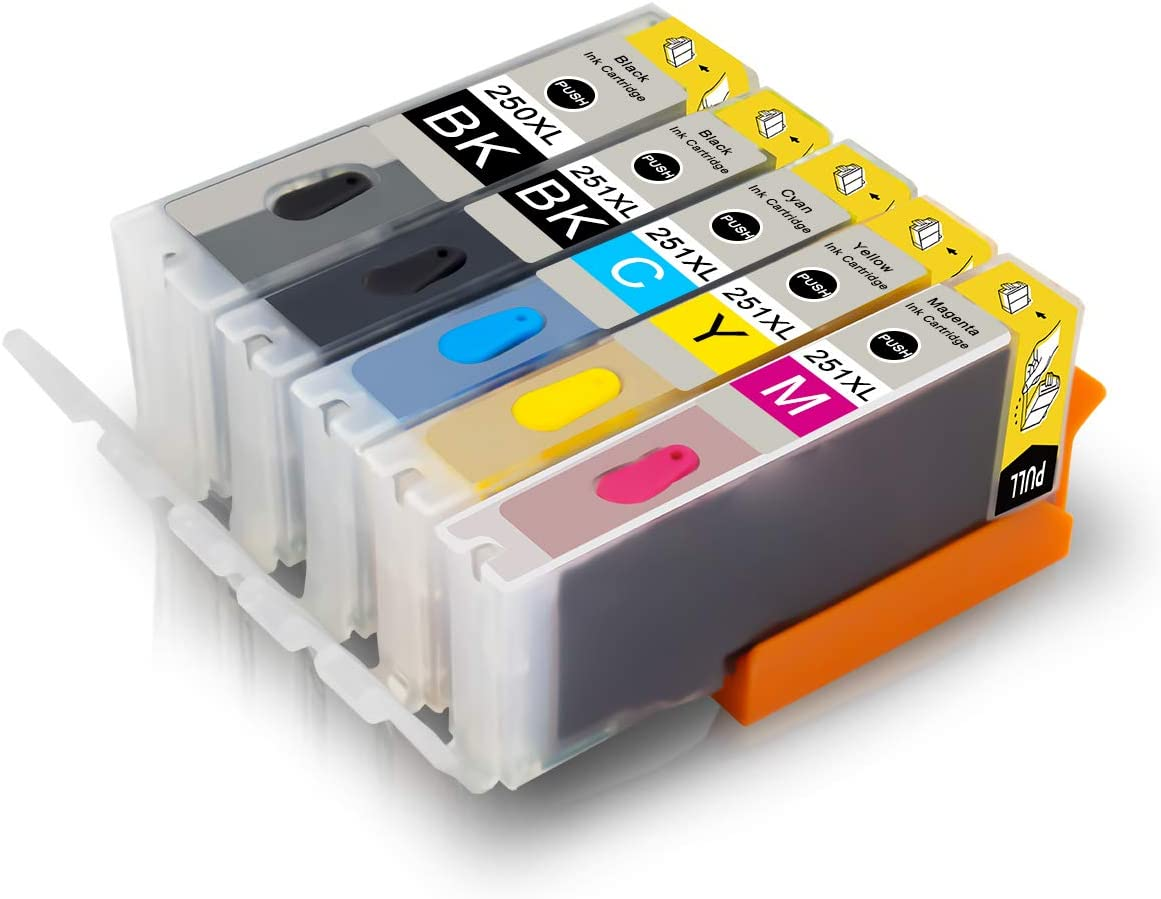 Pristar Compatible Bakery Ink Cartridge Replacement for PGI-250XL CLI-251XL PGI 250XL CLI 251 XL Used for Cake Printer, Cake Makers Work with PIXMA MX922 MX920 MG5520 MG5620 IP7220 IX6820 (5-Pack)