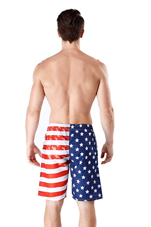 214a32580d3 Mens Stylish Swim Trunks Quick Dry Board Shorts American Flag/Flamingo with  Pockets 20