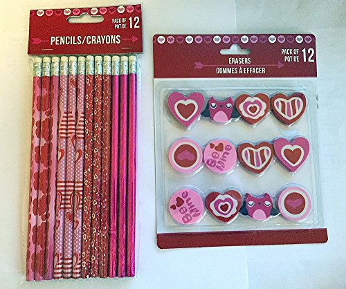 Valentines Day Themed Pencils and Erasers - 12 count each by Greenbrier (Heart Pencil)