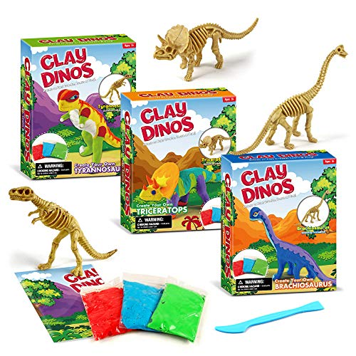 XX Clay Dinosaurs Build 3 Dinosaur Figures with Modeling Clay