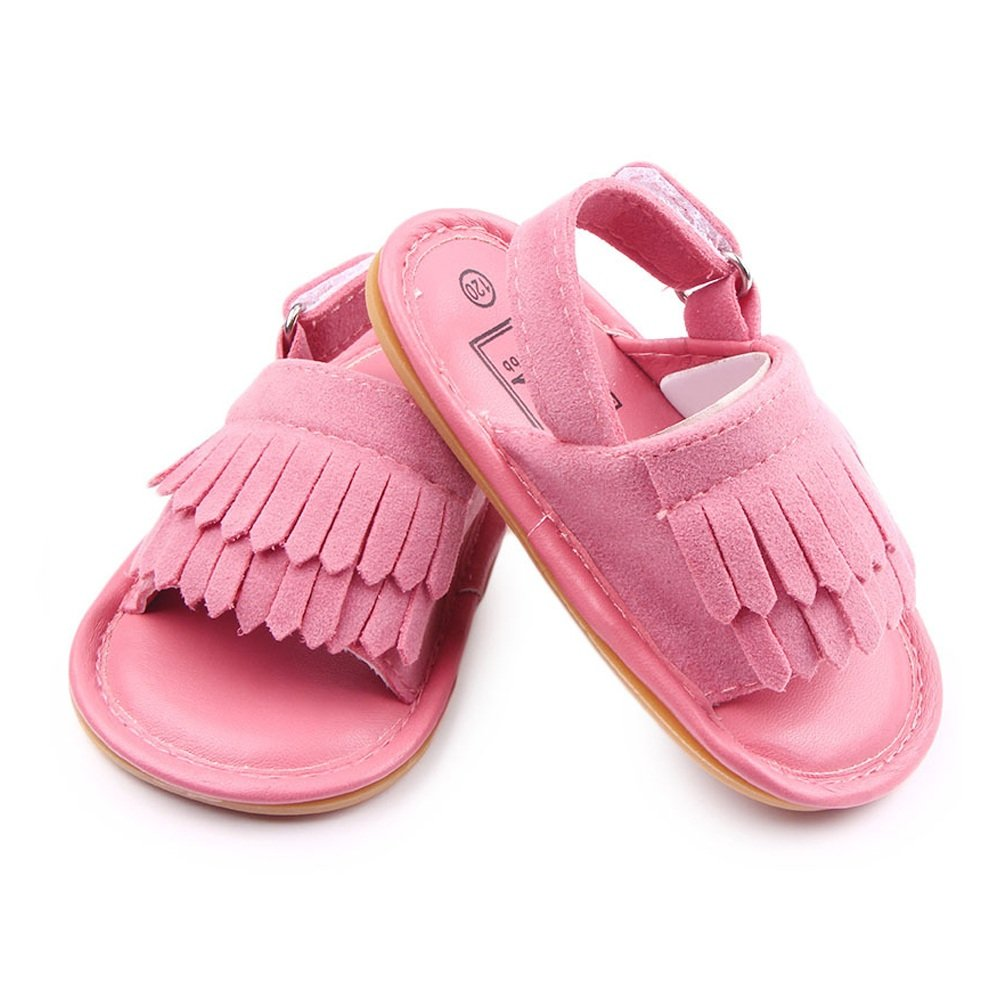 FUHONG Infant Cut Sandal Baby Boys Girls Faux Leather Non-Slip Soft Soled Slingback First Walker Crib Shoes Comfortable