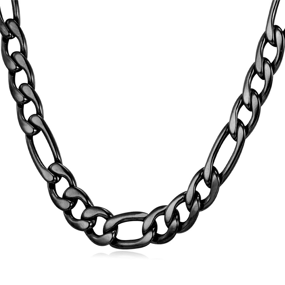 Men's Stainless Steel 9MM Figaro Chain Necklace,18-30